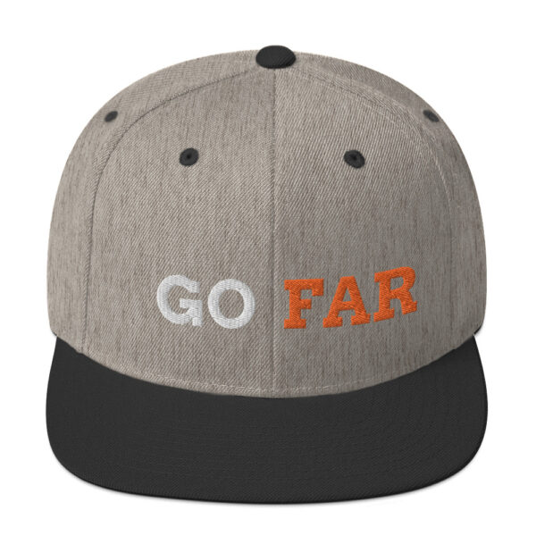 Go far series: Show your ambition with the stuff you wear. A classic fit snapback hat, flat brim, full buckram and adjustable snap closure.