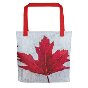 A spacious and trendy Canadiana tote bag with red maple leaf print to help you carry around everything that matters in style.