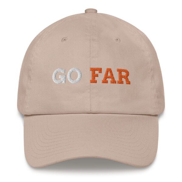 Go far series: Show your ambition with the stuff you wear. Grab yourself an embroidered cap with a low profile with an adjustable strap and curved visor.