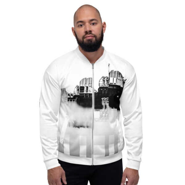 A CV Original Street Wear design inspired by the city of Rotterdam. Vibrant All-Over Print Bomber Jacket. Wear it on a t-shirt, or layer it.